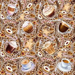 Seamless pattern with different coffee drinks and sweets on white background. Illustration of viennese coffee, armericano, espresso, latte, and irish coffee, cappuccino, cookies and candy.