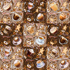 Seamless pattern with different coffee drinks and sweets on white background. Illustration of viennese coffee, armericano, espresso, latte, americano, cookies and candy.