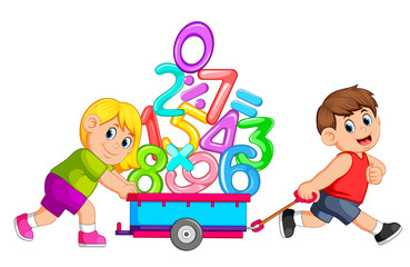 Boy pulling and girl pushing wagon of numbers