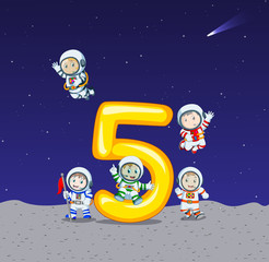 five astronaut on big number five