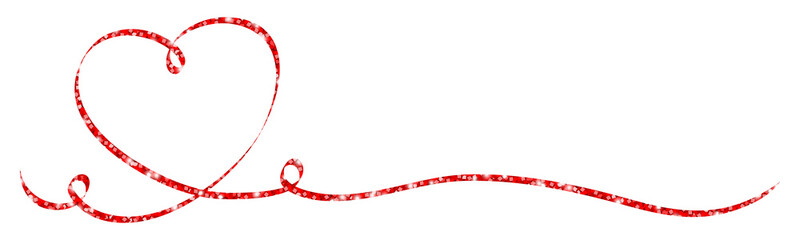 Calligraphy Red Heart Glitter Ribbon
