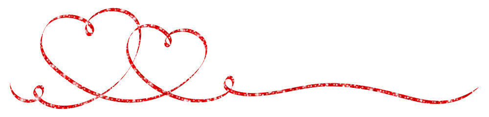 2 Connected Red Calligraphy Hearts Glitter Ribbon Banner