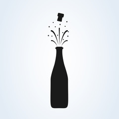 Champagne bottle explosion sign simple icon vector.