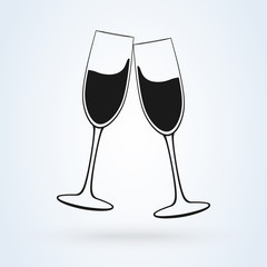 Vector image of the champagne glasses icon.