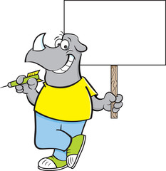 Cartoon illustration of a rhino holding a dart and a sign.