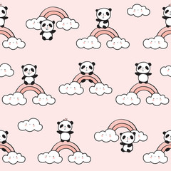 Seamless pattern with cute pandas, rainbows and clouds for children's textiles, wallpapers, gift wraps and scrapbook. Vector.