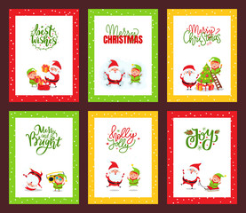 Collection of Christmas Cards with Cute Santa Clause