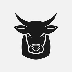 Cow head silhouette. Farm animal icon
