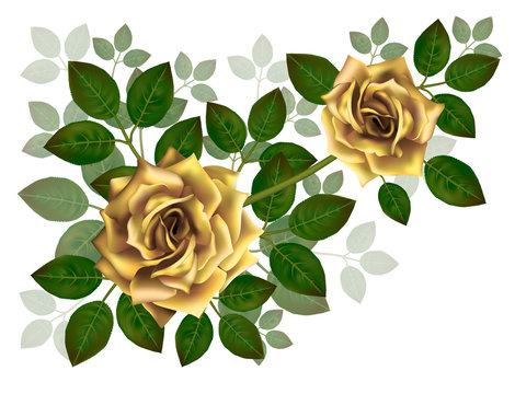 Bouquet of beautiful yellow roses and leaves. Floral arrangement for decoration, perfect for wedding invitation, birthday, Valentines Day, mother s day