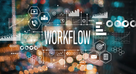 Workflow with blurred city abstract lights background