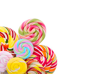 Fotobehang Snoepjes Many colorful lollipops isolated on white background. Studio shot