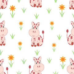 Seamless pattern. Little cows on a flower meadow.