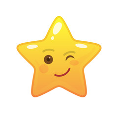 Playful star shaped comic emoticon. Winking face with facial expression. Blinking emoji symbol for internet chatting. Funny social communication animation. Mood message isolated vector element