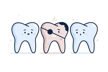 Illustration of Healthy teeth and diseased teeth