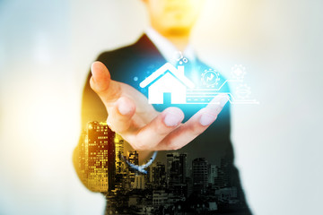 Technology of smart home, Businessman stretch out hand, real estate concept.
