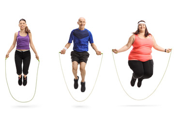 Group of different people jumping with a skipping rope