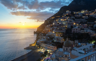 Positano sunset view, Amalfi Coast, Italy.
