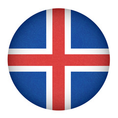 Iceland flag in circle shape. Isolated button of icelandic banner with scratched texture, grunge. Flat style, vector illustration with noise, marble textured background. Horizontal orientation.