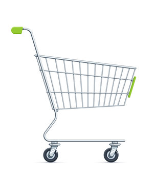 Shopping cart for supermarket products. Shop equipment.