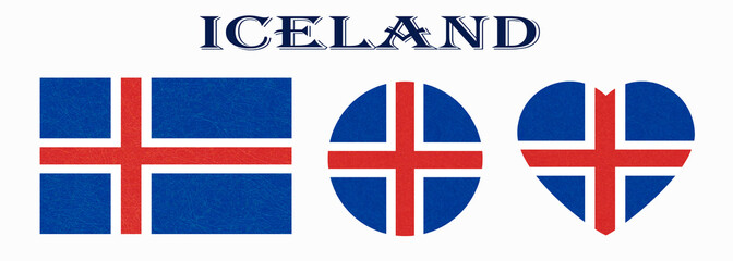 Iceland flag in different shapes. Icelandic banners with scratched texture, grunge. Flat style, vector illustration with noise, marble textured background. Horizontal orientation. Isolated.