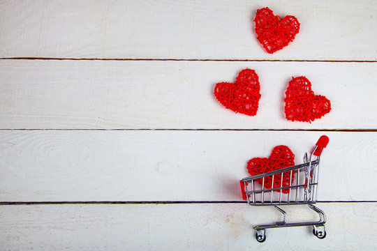 Hearts in the shopping cart