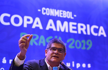 Representatives of the participating countries of Copa America attend a seminar
