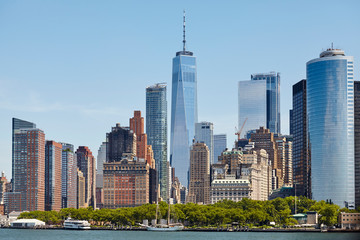 Manhattan skyline on a sunny day, New York City, USA.
