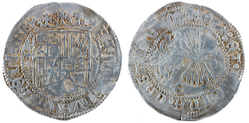 Ancient Spanish silver coin of the Kings Fernando e Isabel. Catholic kings. Coined in Granada. Real.