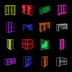 Bedroom furniture neon icons in set collection for design. Modern wooden furniture isometric vector symbol stock web illustration.