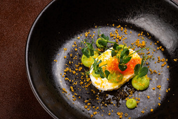 Fine dining, Elegant Trout fish Caviar on Bufalo Mozzarella