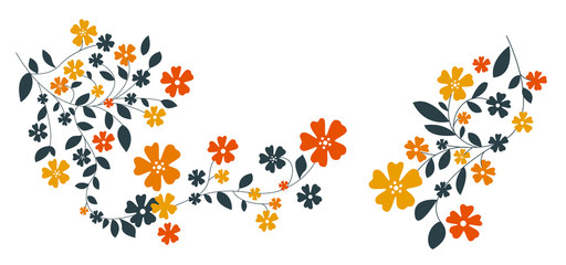 flowers and leaves in darkblue and orange
