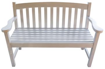 banc créole en bois blanc, fond blanc