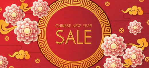 Chinese new year design background. Chinese New Year sale design template.