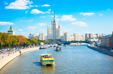 Wall Mural - Kotelnicheskaya embankment building and Moskva river, Moscow
