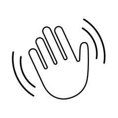 Hello wave hand vector line icon