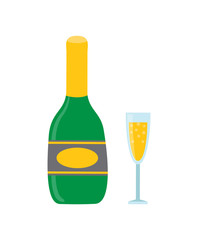 Bottle and Glass of Sparkling Wine or Champagne