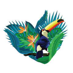 Toucan bird.  Heart of tropical leaves with toucan.  Cute toucan  vector isolated on white. South America fauna.