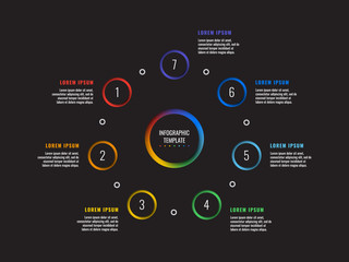 seven steps infographic template with round 3d realistic elements on dark background. vector process diagram for brochure, banner, poster, annual report. eps 10