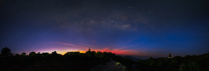 Dark Sky Certification Milky way on over Doi Inthanon the highest mountain of Thailand in Chiang Mia province...