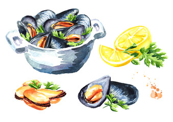 Mussels with lemon and herb set. Watercolor hand drawn illustration isolated on white background