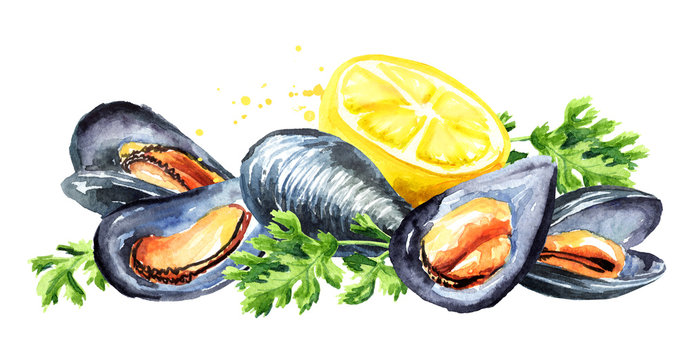 Mussels with lemon and herb seafood composition, Watercolor hand drawn illustration, isolated on white background