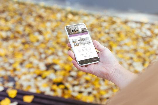Phone showing real estate agencies