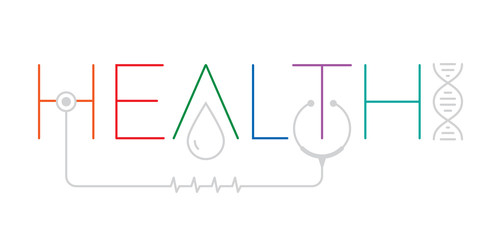 health word logo. health word with health symbols