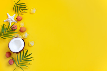 Bright yellow tropical summer background