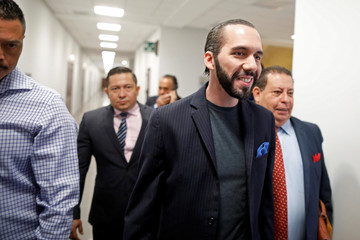 Presidential candidate Nayib Bukele of GANA arrives at a courthouse for a hearing, under charges of defamation, in Santa Tecla