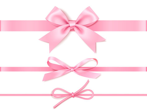 Set of decorative pink bow with horizontal pink ribbon for gift decor.Vector illustration isolated on white