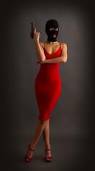 girl gun balaclava red
