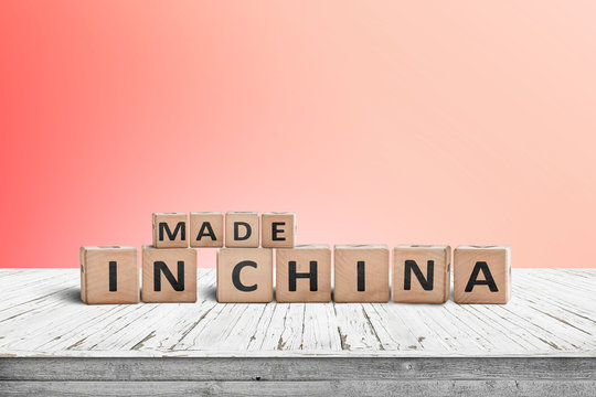 Made in China sign on a wooden desk