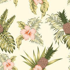 Tropical botanical seamless pattern exotic design beige background
