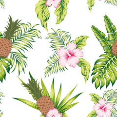 Tropical botanical seamless pattern exotic design white background